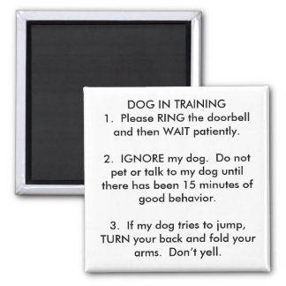 DOG IN TRAINING1.  Please RING the... - Customized Square Magnet