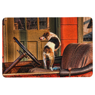 DOG IN VINTAGE CAR FLOOR MAT