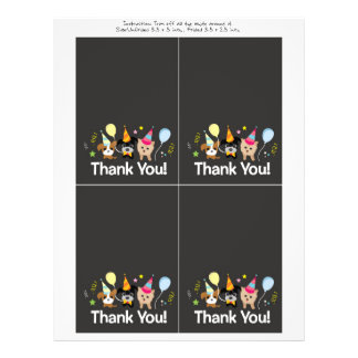 dog, kids birthday party Thank You card 21.5 Cm X 28 Cm Flyer