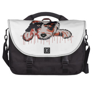 DOG LOOKING OVER FENCE COMPUTER BAG