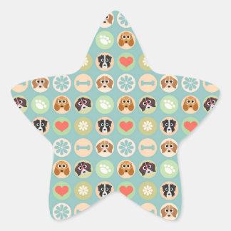 Dog Love Star Sticker