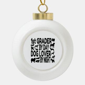 Dog Lover 1st Grader Ceramic Ball Christmas Ornament