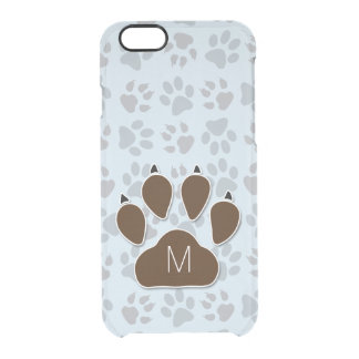 Dog Lover Blue and Brown Paw Prints Clear iPhone 6/6S Case