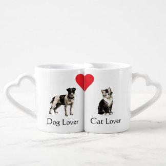 Dog Lover Cat Lover Heart Mugs Couple Mugs