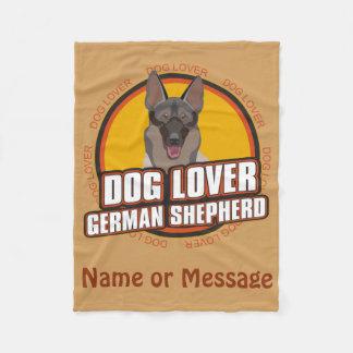 Dog Lover German Shepherd Custom Name or Message Fleece Blanket