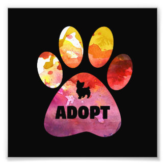 Dog Lover Gifts. Adopt. Dogs Paw, Watercolor Photo Print