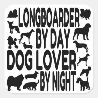 Dog Lover Longboarder Square Sticker