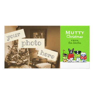 Dog Lover Mutts in Scarves Christmas Custom Photo Card Template