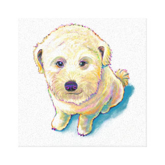 Dog lover painting original art whoodle wheaten canvas print
