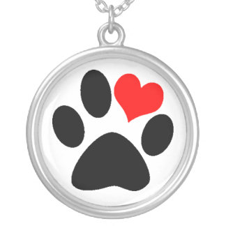 Dog Lover Paw Print Silver Plated Necklace