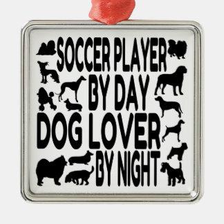 Dog Lover Soccer Player Metal Ornament