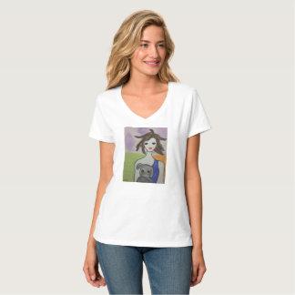 Dog lover v-neck t-shirt. Girl power. whimsical T-Shirt