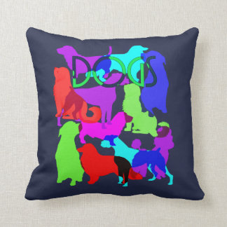 Dog Lovers Colorful Abstract Dogs Design Cushion