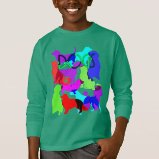 Dog Lovers Colourful Abstract Dogs Design T-Shirt