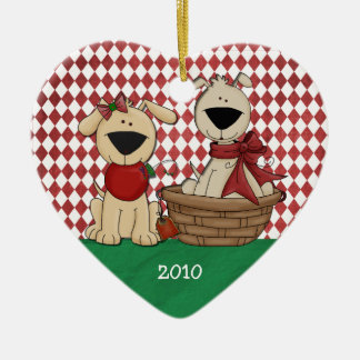 Dog Lovers First Christmas Together Personalized Ceramic Heart Decoration