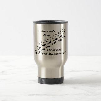 Dog Lover's I Never Walk Alone Pawprint Travel Mug