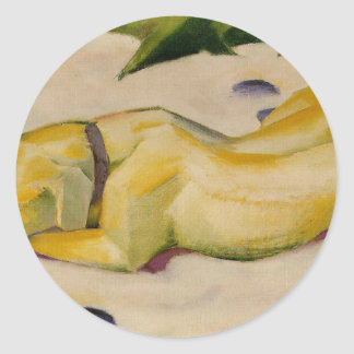 Dog Lying in the Snow by Franz Marc Round Sticker