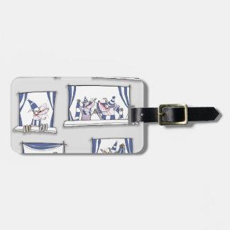 dog match day blues luggage tag