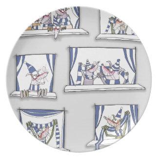dog match day blues plate