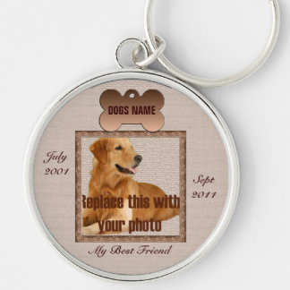 Dog Memorial Brown Tones Silver-Colored Round Key Ring