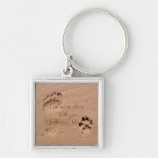 Dog Memorial Footprints in Sand Personalised Key Ring