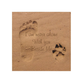 Dog memorial Footprints in Sand Personalised Wood Wall Decor