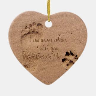 Dog Memorial Footprints in Sand Photo Ceramic Ornament