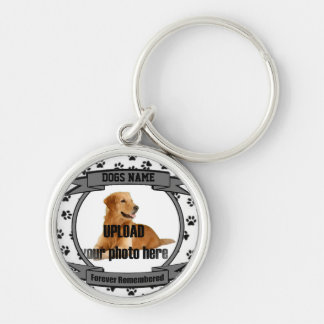 Dog Memorial Forever Remembered Silver-Colored Round Key Ring