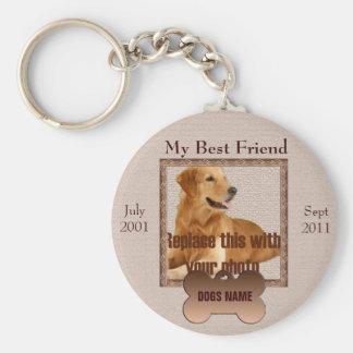 Dog Memorial in Beautiful Brown Tones Basic Round Button Key Ring