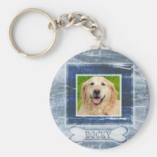 Dog Memorial with Bone Basic Round Button Key Ring