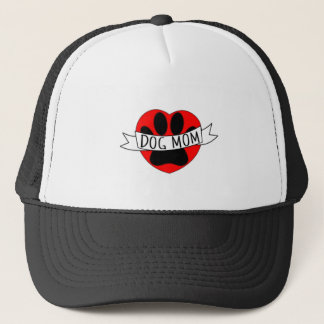 Dog Mom Paw And Red Heart Drawing Trucker Hat