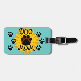 Dog Mom Sunflower Paw Print Bag Tag