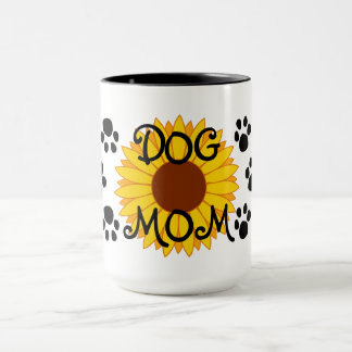 Dog Mom Sunflower Paw Prints Mug