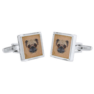 Dog Mosaic Silver Finish Cufflinks