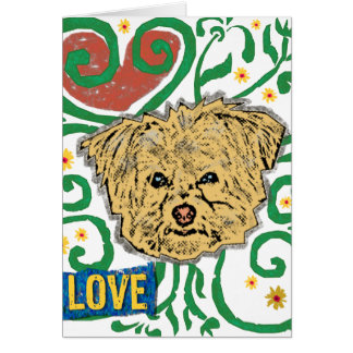 DOG: Multi-Poo Garden of Love with Flowers Greeting Card