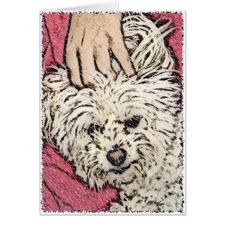 DOG: Multi-Poo Getting a Head Scratch Greeting Card