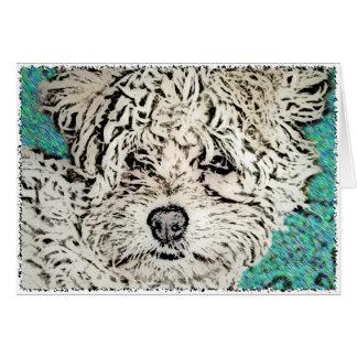 DOG: Multi-Poo Pup Looking RIght at Ya Greeting Card