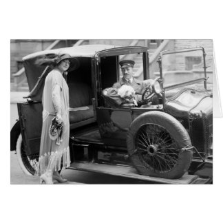 Dog Nanny and Chauffeur, 1920s Greeting Card