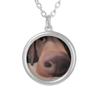 Dog Nose Round Necklace Painted