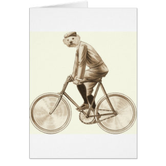 Dog on a bike vintage mixed media print greeting card