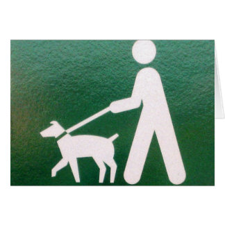 Dog on a Leash Sign Greeting Card