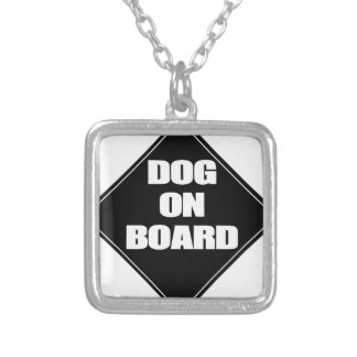 Dog on Board Square Pendant Necklace