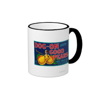 Dog On Good Pears Pear Crate LabelSuisun, CA Coffee Mugs