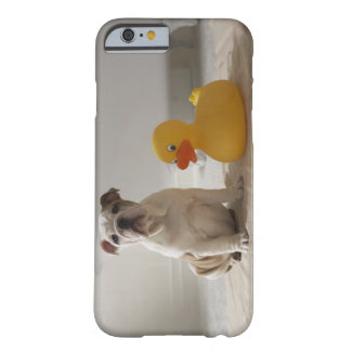 Dog on mat with plastic duck barely there iPhone 6 case