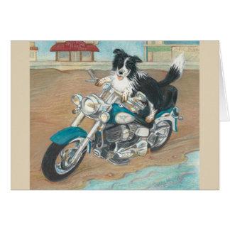 Dog on Motorcycle Notecard
