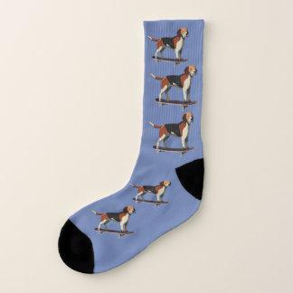 Dog on Skateboard,Men's Large Socks,Denim Socks