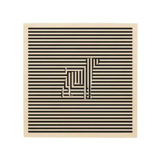 Dog on Stripes Wood Print