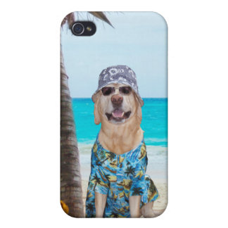 Dog on the Beach, in Hawaiian Shirt Case For The iPhone 4