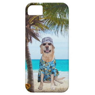 Dog on the Beach in Hawaiian Shirt iPhone 5 Cover