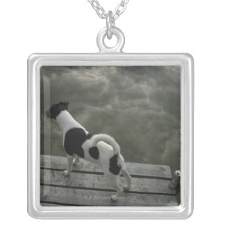 Dog on Top of Roof Silver Plated Necklace